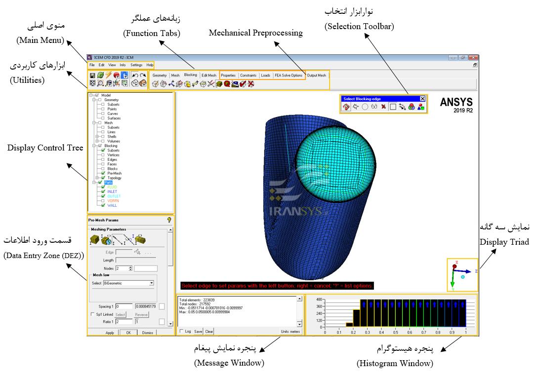 معرفی قسمت¬های مختلف نرم¬افزار ANSYS ICEM CFD